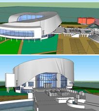 现代风格SU美术馆建筑SKP模型