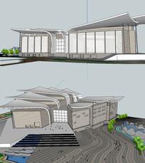 现代风格美术馆建筑SKP模型