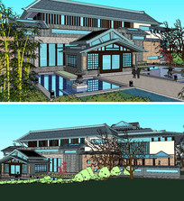 中式博物馆美术馆建筑SKP模型