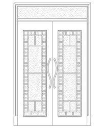 现代长方形图案双扇门