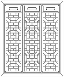 中式门框图案CAD