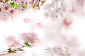 桃花水纹粉色背景墙