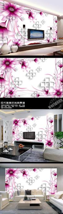 紫色野花菊花3D时尚背景墙