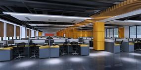 大型办公区3DMAX模型和效果图(附贴图)
