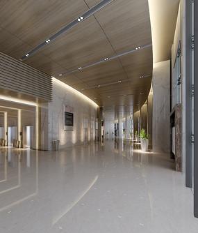 商业区办公室过厅3DMAX模型和效果图(附贴图)
