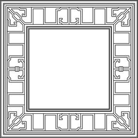 方形中式鏤空圖案