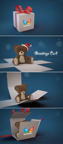圣诞节礼盒打开泰迪熊问候片头模板