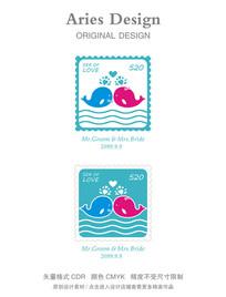 海洋主题邮票520卡通鲸鱼婚礼图案