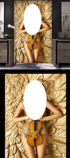 黄金色羽毛美女玄关背景墙