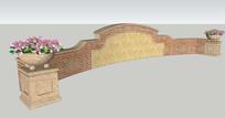 欧式花钵景墙