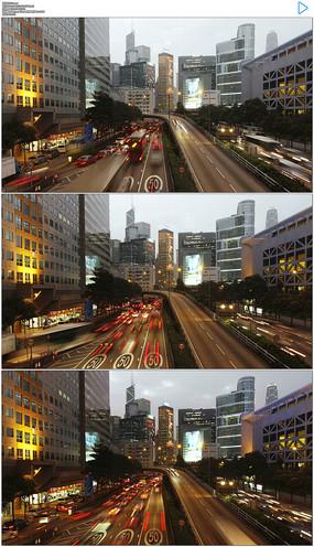 香港白天到黑夜延时实拍视频素材