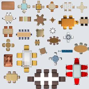 木质中式现代多种餐桌psd合集