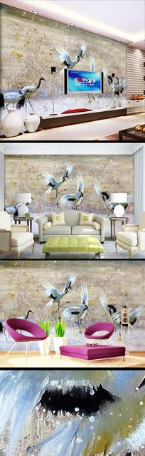 手绘油画丹顶鹤壁纸背景墙