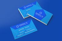 简约蓝色信封式名片设计