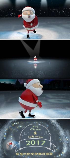 卡通圣诞老人滑雪新年祝福语文字片头模板
