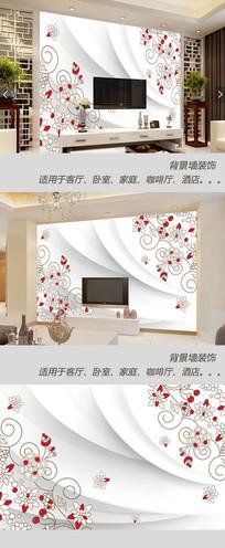 欧式手绘小清新背景墙
