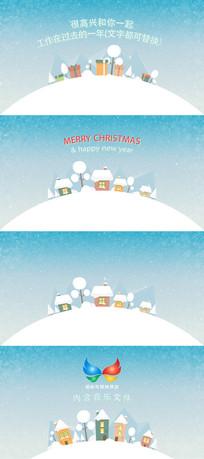清新风格圣诞节新年节日祝福片头模板