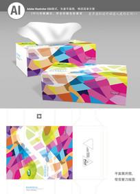 精美时尚花纹纸巾盒包装美模板