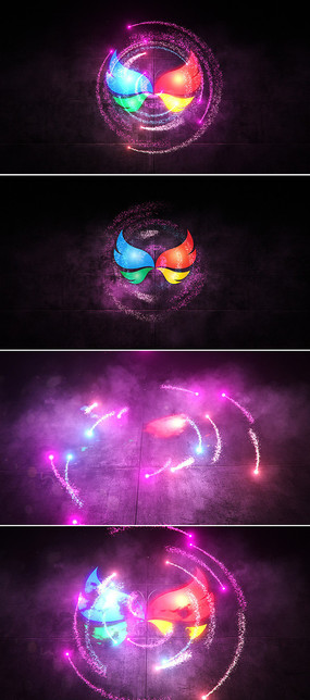 绚丽粒子光线环绕logo标志展示ae模板