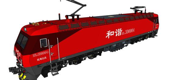 红色火车模型