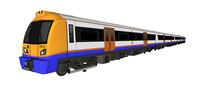 蓝白色现代火车模型
