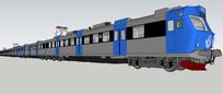 蓝灰色火车模型