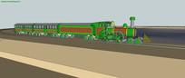 绿色早期火车SU模型