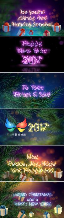 圣诞节新年五彩灯光文字标题字幕ae模板