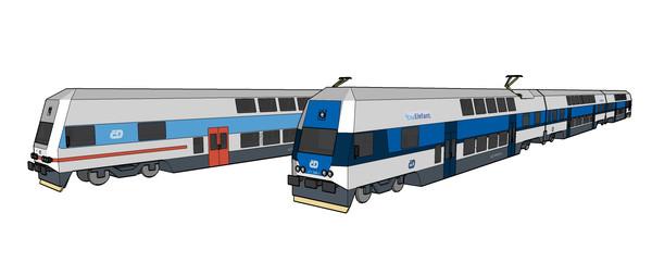 现代蓝白色火车模型