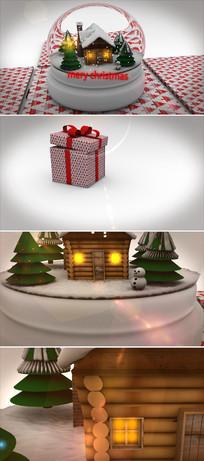 2款圣诞节水晶玻璃球新年片头模板