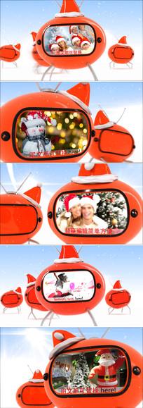 三维卡通圣诞节新年电视图文视频展示模板