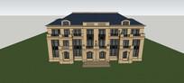 新古典地中海外滩三层别墅模型