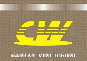虚线字母CW标志设计
