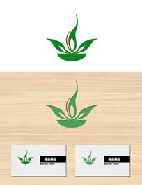 绿色叶子花瓣火苗形状logo标志