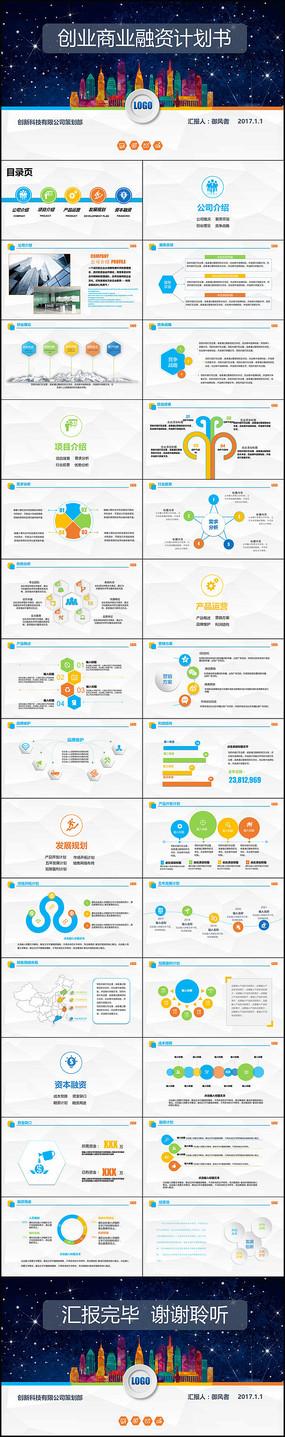 商业计划书营销策划书ppt模板下载 pptx