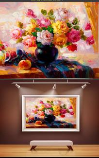 手绘油画装饰画玫瑰花