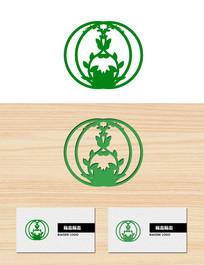 圆形绿色植物叶子花瓶形状标志logo