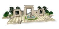 欧式广场雕像景墙