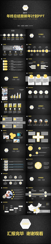 框架完整的金色系列年度工作总结PPT模板