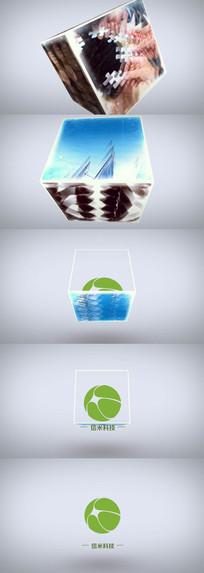 白色素雅企业宣传片片尾立方视觉标志展示