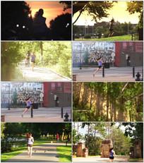 美女公园晨跑锻炼视频