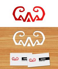 山体蝙蝠形状logo标志