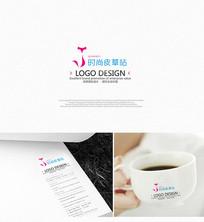 粉色簡約女性皮草公司logo