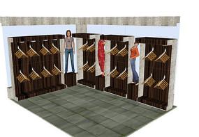 服装店展示架设计SU模型