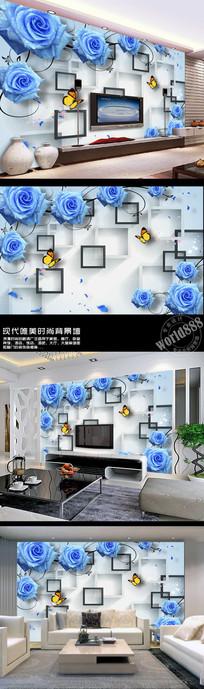 蓝色玫瑰黑白方框清新3D时尚背景墙
