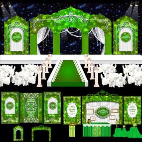 绿色森林主题婚礼背景