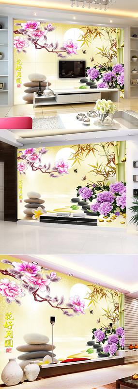 彩雕玉兰花牡丹竹子电视背景墙