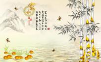 家和富贵彩雕竹子牡丹背景墙