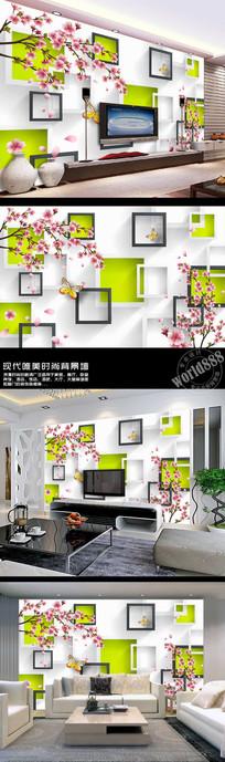 手绘桃花黑白方框雅致3D时尚背景墙