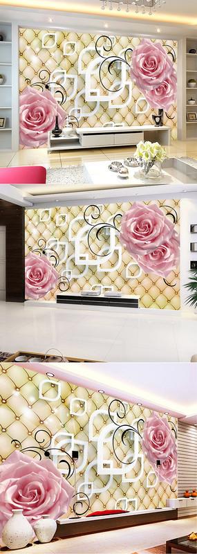 唯美浪漫玫瑰3D电视背景墙
